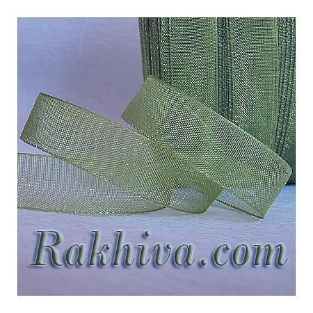 Тъкани панделки Органза, 1 ролка 2 cm/50ярда (войнишко зелено) 20/50/2266)
