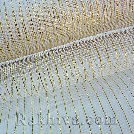 Мрежа за цветя Клеопатра 2, бяло и злато, 8 ярда  бяло, злато (48/10-200)