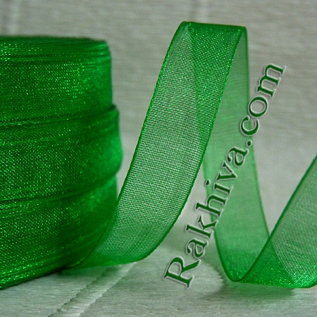Тъкани панделки Органза, 1 ролка 6 mm/20 метра тревисто зелено (6/20/2265)