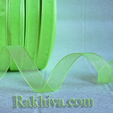 Тъкани панделки Органза, 1 ролка 2.5 cm/ 50ярда ярка резеда (25/50/2261)