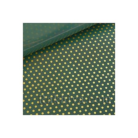 Двустранен целофан за цветя, Точки/ тъмно зелено, злато  (50/50/131365)