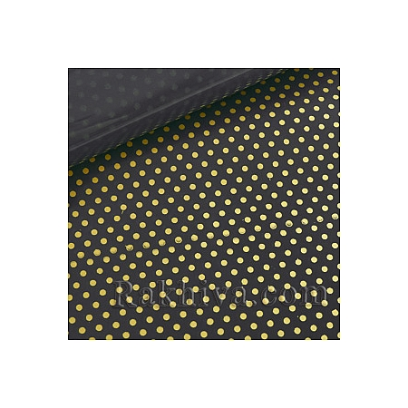 Двуцветен целофан за цветя, Точки/ черно, злато (50/50/131320-200)