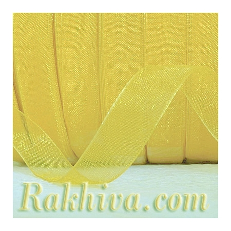 Тъкани панделки Органза, 1 ролка 6 mm/ 20 метра жълто (6/20/2270)