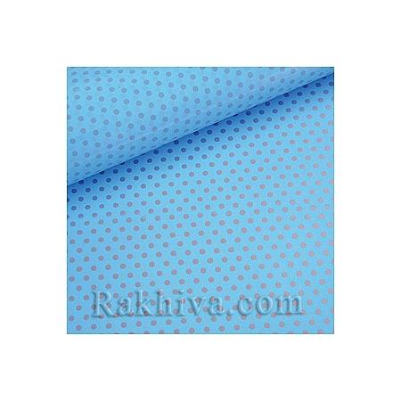 Двустранен целофан за цветя, Точки/ светло синьо, сребро  (50/50/131351)