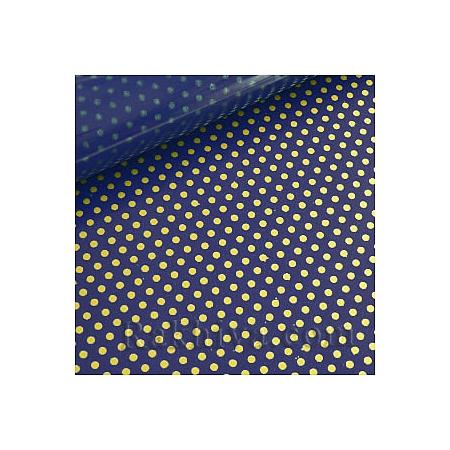 Двустранен целофан за цветя, Точки/ тъмно синьо, злато (50/50/131355)