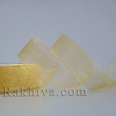 Тъкани панделки Органза, 1 ролка 6 mm/ 20 метра светло злато (6/20/22202)