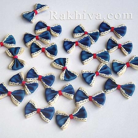 Готови панделки релефен сатен, тъмно синьо, 10 бр. (WOVE-R054-02)