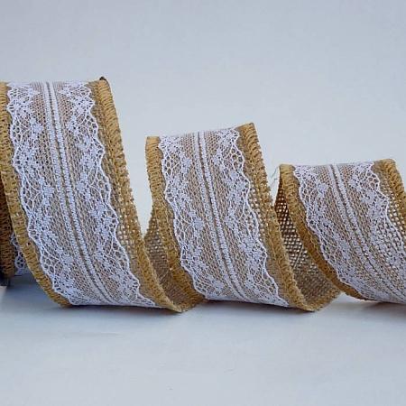 Натурални панделки ЛЕН И ДАНТЕЛА, 48мм/ 4.5 м OCOR-R018-06