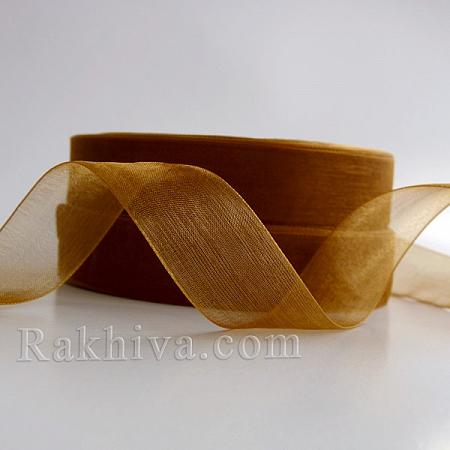 Тъкани панделки Органза, 1 ролка 1 cm/500ярда злато (10/500/22200)