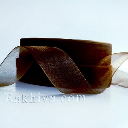 Тъкани панделки Органза, 1 ролка 6 mm/20 метра т. кафяво (6/20/2234)