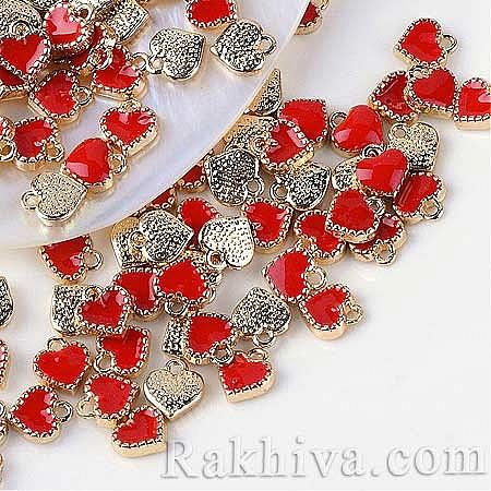 Фигурка за бижу Сърце, червено, 5бр червено,злато (ENAM-Q033-51D)