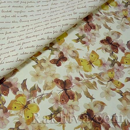 Италиански целофан Пеперуди (жълто), 100 см х 100 см (листи) (100/100/5/70)