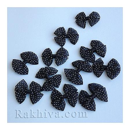 Готови панделки органза точки, черно, 10 бр. 25мм/30мм/7мм (WOVE-R093-12-1)
