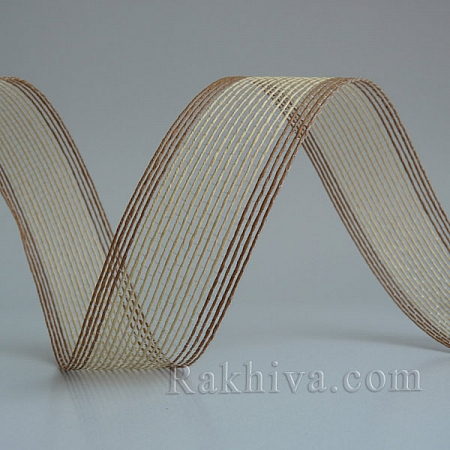 Тъкана хартиена панделка, натурал, кафяво (30/15/2430-34)