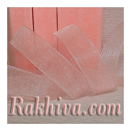 Тъкани панделки Органза, 1 ролка 6 mm/500 ярда розов кварц  (6/500/2240-2)