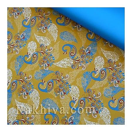 Италиански целофан Жар птица (злато, синьо), 100 см х 100 см (листи) (100/100/9/200-51)