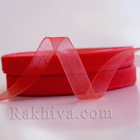 Тъкани панделки Органза, 1 ролка 1 cm/50 ярда розово-червено  (10/50/2240-80)