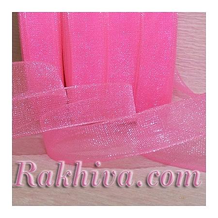 Тъкани панделки Органза, 1 ролка 1 cm/50 ярда  тъмно розово 2(10/50/2241-1)