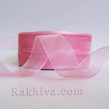 Тъкани панделки Органза, 1 ролка 1 cm/500ярда розово (10/50/2243-1)