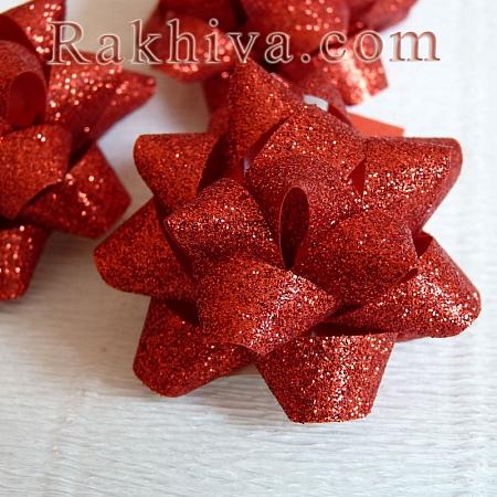 Готови панделки звездички Брилянт, червено (10мм/ 36 бр)