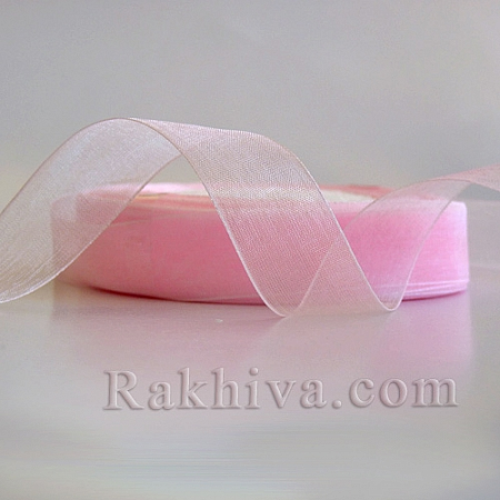 Тъкани панделки Органза, 1 ролка 2 cm/50 ярда светло розово (20/50/2240-1)