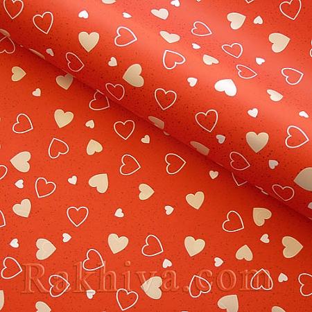 Италиански целофан Сърца червено, 100 см х 100 см (листи) (100/100/13/80)