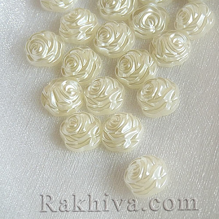 Рози от перли за обеци, медальон, за бижута и декорация, рози, шампанско (SACR-R857-Z24)
