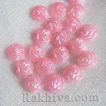 Рози от перли за обеци, медальон, за бижута и декорация, рози, розово (SACR-R857-Z6)