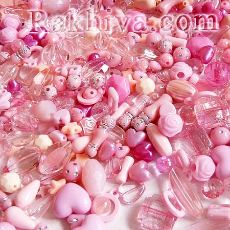 Микс елементи за бижута, розово, МИКС розово, 15 г (SACR-S756-06)