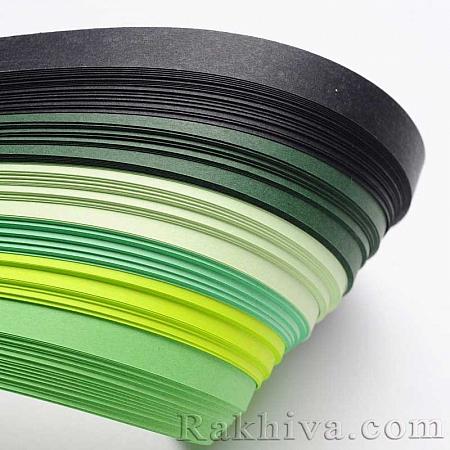 Квилинг лентички - зелена гама, 5мм/ 530мм (DIY-J001-5mm-A04)
