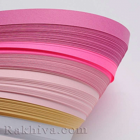 Квилинг лентички - розово гама, 5мм/ 530мм (DIY-J001-5mm-A03)