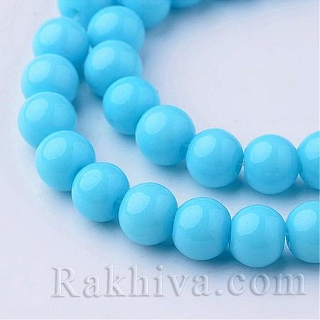 Стъклени мъниста МАТ, св. синьо, 4мм (GLAA-G015-4mm-06)
