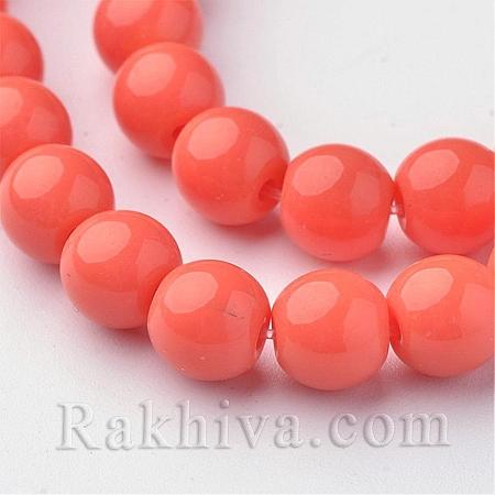 Стъклени мъниста МАТ, оранжево, 4мм (GLAA-G015-4mm-14)