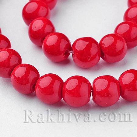 Стъклени мъниста МАТ, червено, 4мм (GLAA-G015-4mm-20)