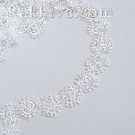 Дантела Цветя, 30мм/1м, бяло (30/1/160617161541)