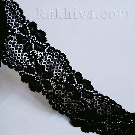 Дантела, еластична, 65мм/5м, черно (65/5/140720163953)