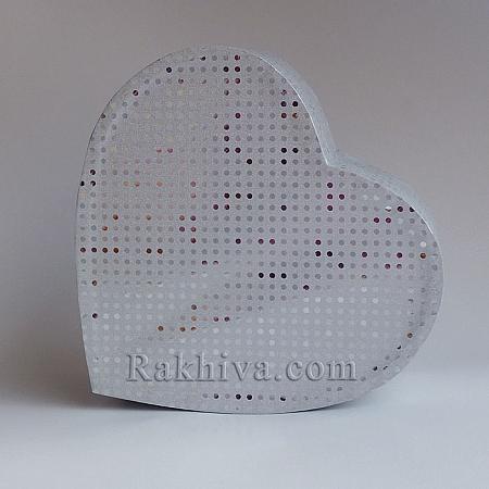 Кутия сърце Цвят №  71B/50 сребро, С2(шир.=7см/h=3см)