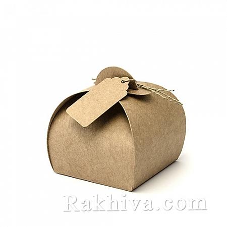 Малки кутийки за подаръчета КРАФТ, канап, картичка, 1 бр., 6x6x5.5cm