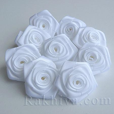 Розички Сатен, бяло 10бр. (S08-19)