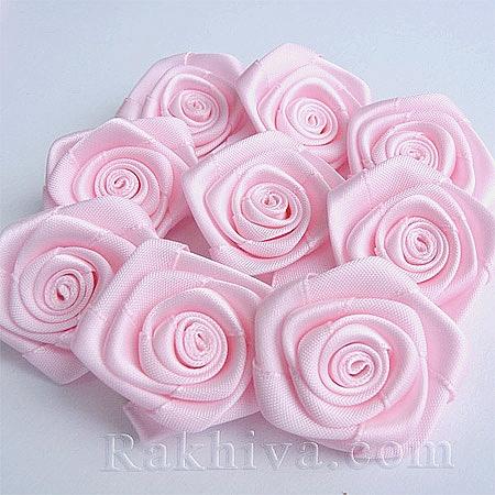 Розички Сатен, бебешко розово 10бр. (QS08-1)
