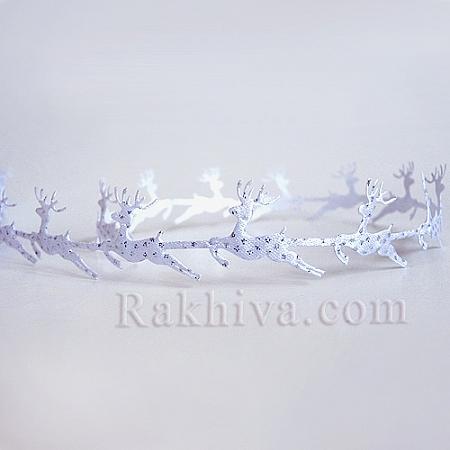 Коледни панделки Еленчета, Еленчета, 1 м (бяло с брокат)