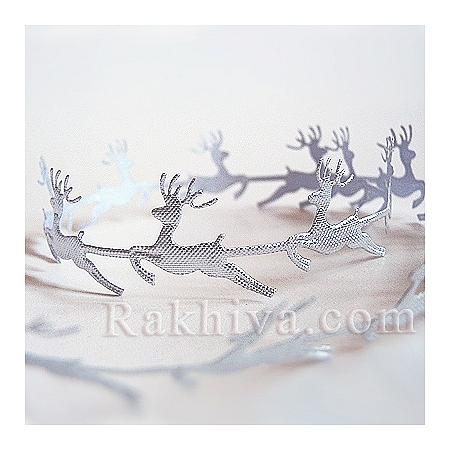Коледни панделки Еленчета, Еленчета, 1 м (сребро)