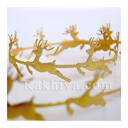 Коледни панделки Еленчета, Еленчета, 1 м (злато)