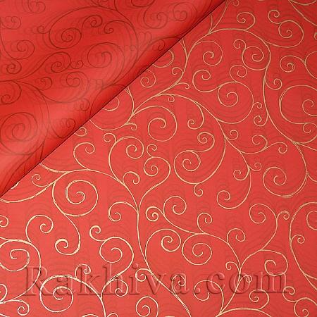 Целофан за опаковане на пакет, Спирали червено, злато (70/100/17180-200) над 50 листа