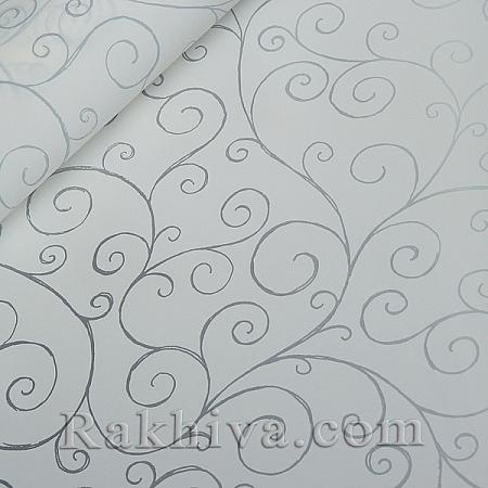Целофан за опаковане на пакет, Спирали бяло, сребро (70/100/17110-300) над 50 листа