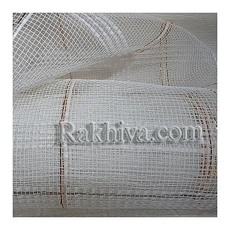 Мрежа за цветя - златни нишки, бяло на кашон, 9 ярда бяло златни нишки (43/10) над 20 броя