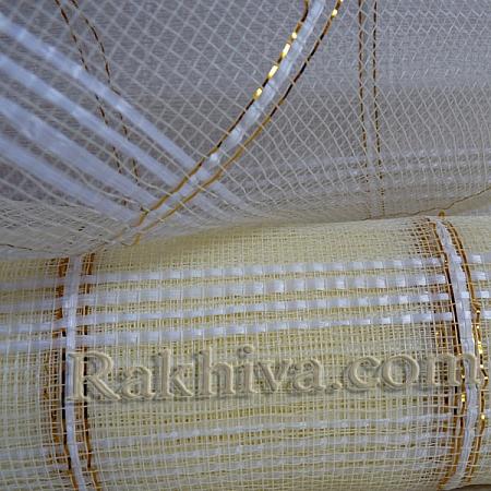 Мрежа за цветя - златни нишки, екрю на кашон, ЕДРО 9 ярда екрю златни нишки (43/12) над 20 броя