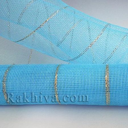 Мрежа за цветя - златни нишки на кашон, ЕДРО 9 ярда св. синьо златни нишки (43/51) над 20 броя