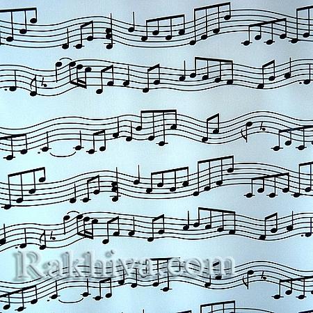 Целофан за опаковане на пакет, Музика бяло, черно (70/100/1110) над 50 листа