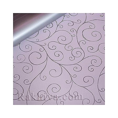 Целофан за опаковане на пакет, Спирали светло розово, сребро (100/100/11/40-300) над 20 листа